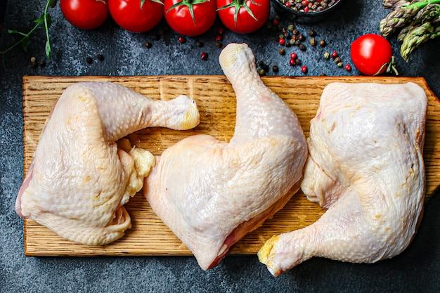 Chicken meat pieces raw hen legs thighs natural product