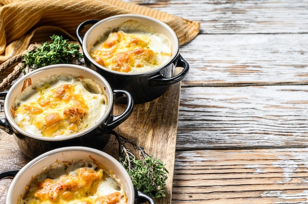 Chicken and  mushroom casserole in a clay pot