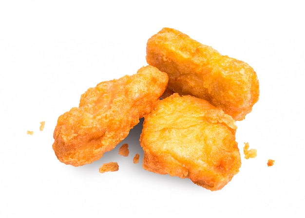 Chicken nuggets isolated on white background. delicious appetizer made from chicken.