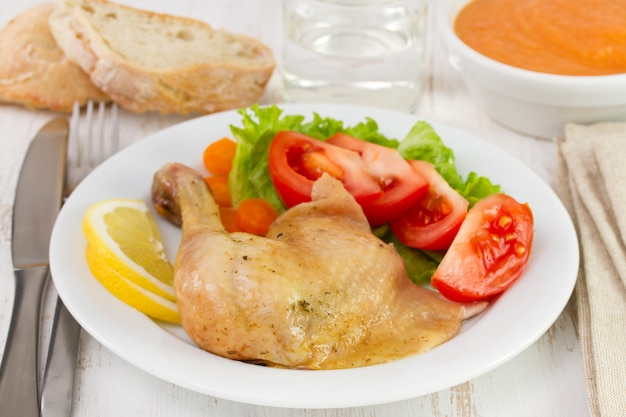 Chicken on plate with glass of water