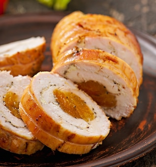 Chicken roll with prunes and dried apricots