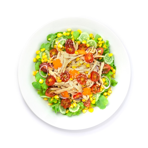 Куриный салат с овощами и кунжутом
