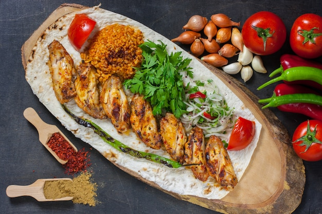 Chicken shish kebab traditional turkish food