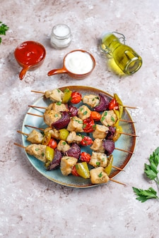 야채, 케첩, 마요네즈, 평면도 치킨시 케밥