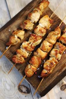 Chicken skewers on wooden sticks