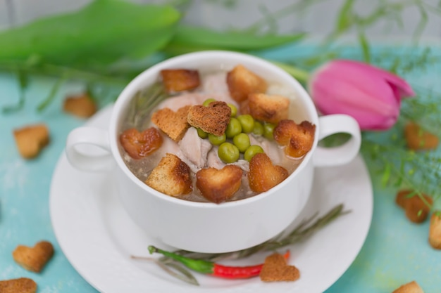 Chicken soup croutons