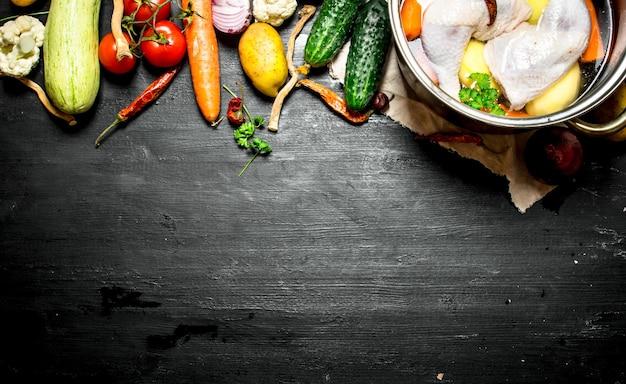 野菜入りチキンスープ。