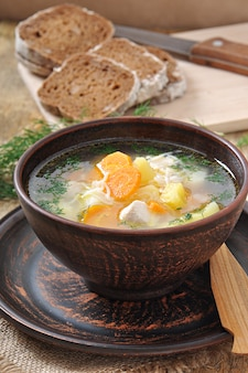 Chicken soup with vegetables