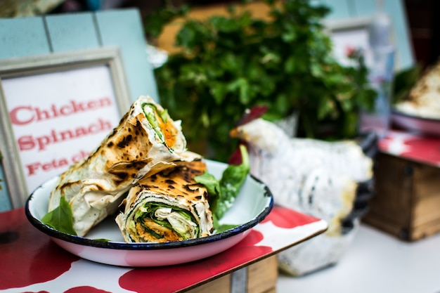Chicken, spinach feta cheese wrap