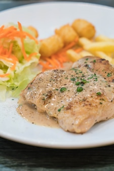 Chicken steak and peppers sauce