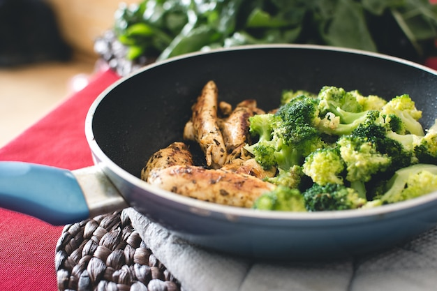 Chicken steak with broccoli in pan