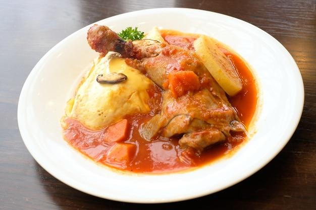 Chicken stew - rice, thai food on white dish