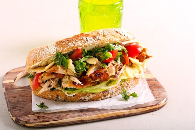 Chicken, vegetables sandwich with whole wheat seed bread