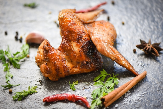 Chicken wings with herbs and spices