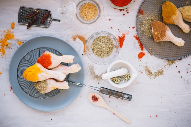 Курица со специями на тарелке