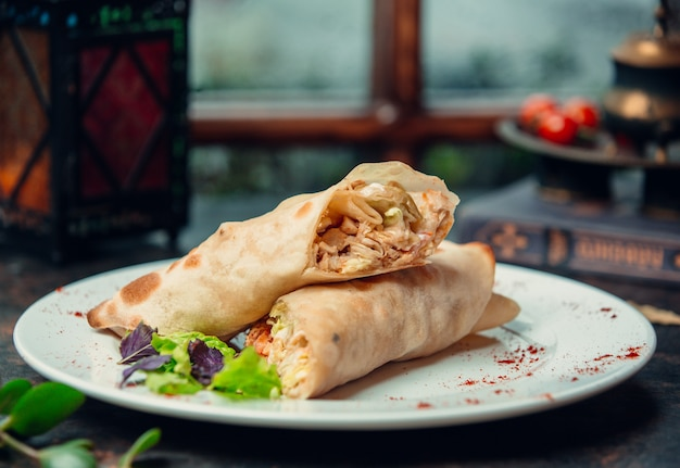 Chicken wrap doner with tomato