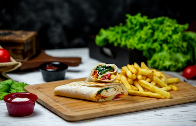 Chicken wrap with side french fries