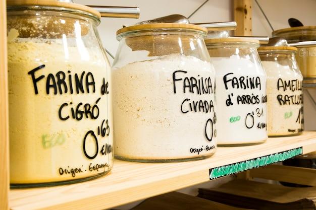 Chickpea flour, oatmeal and rice flour.