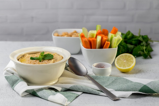 Chickpea humus made at home