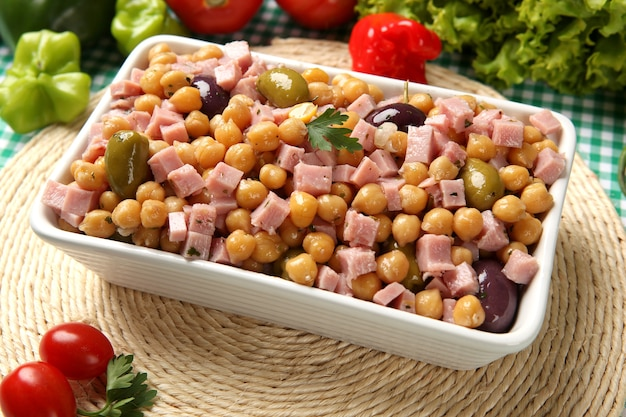 Chickpea salad, with some ingredients