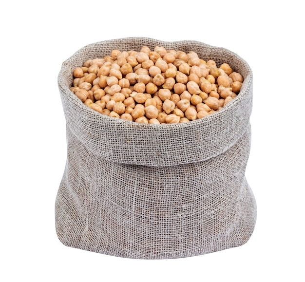 Chickpeas in burlap bag isolated on white