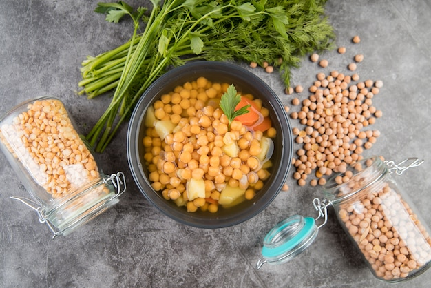 Chickpeas homemade soup and jars
