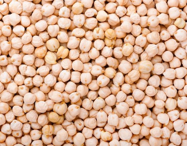 ひよこ豆のスペース。ひよこ豆を乾燥、パターンスペースをクローズアップ、トップビュー。