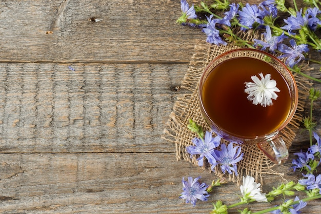 Chicory drink in cup and flowers on rustic wooden background. medicinal plant cichorii.