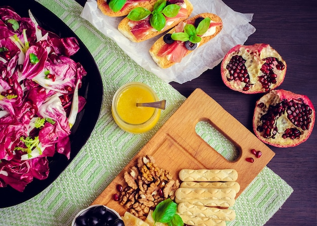 Chicory salad with appetizers set