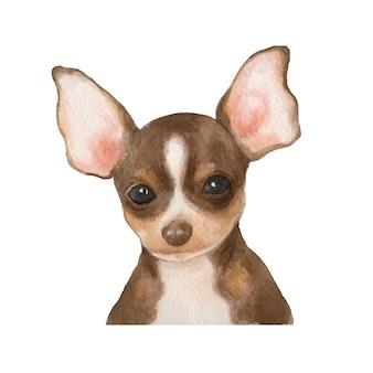 치와와 강아지 수채화 그림