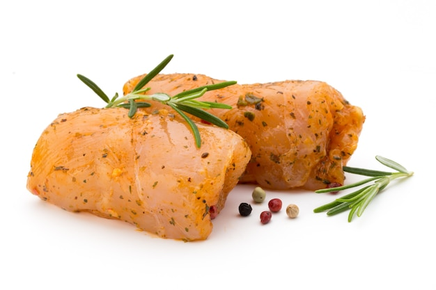 Chiken meat rolls isolated on the white surface.