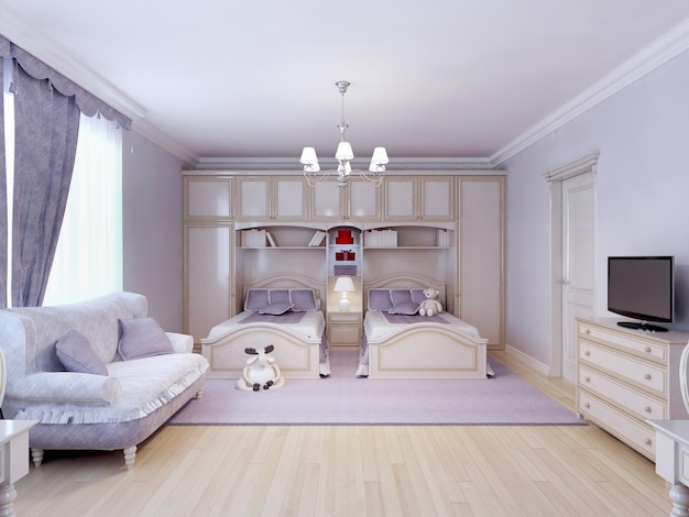 Child bedroom for two in neoclassic style