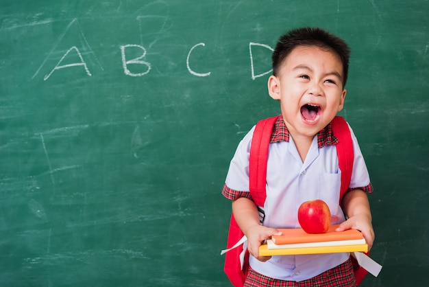 Child boy from kindergarten in student uniform with school bag holding red apple on books
