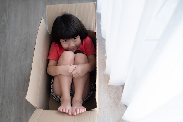 Child in the delivery box, hidden kid