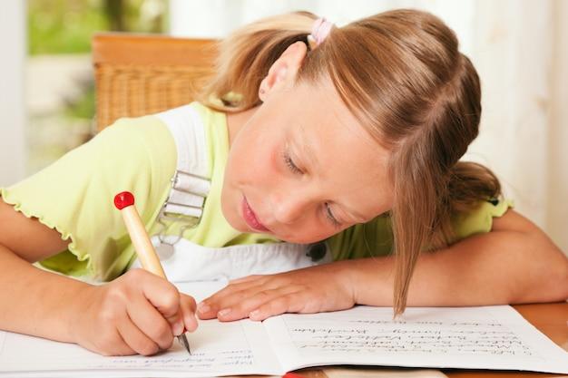 Child doing homework for school