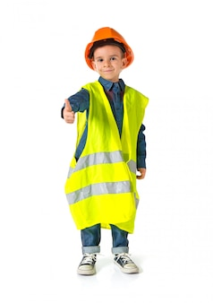 Child dressed as a workman with thumb up