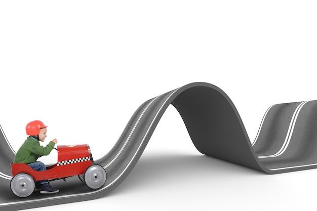 子供は曲がりくねった道でおもちゃの車を運転します。難しい方法の概念。 3dレンダリング