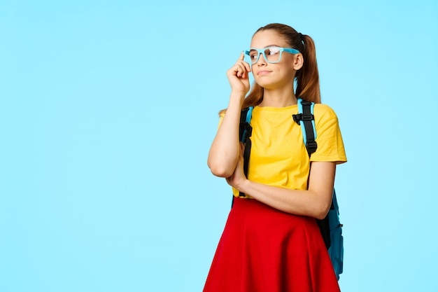 Child elementary school student with glasses