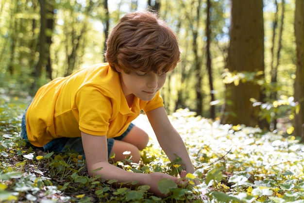 Child exploring the forest on environment day