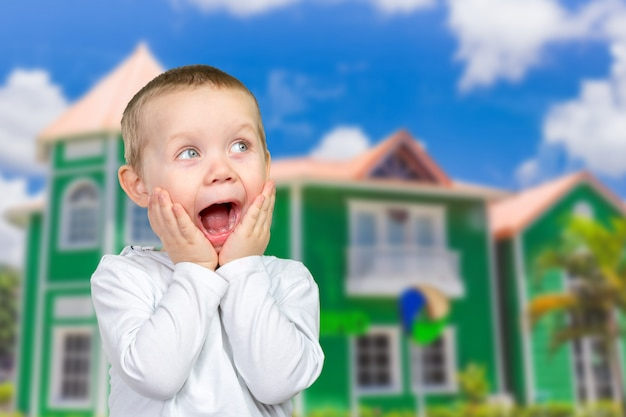 Child expressing surprise and happiness
