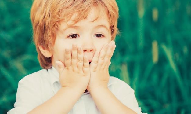 顔に手を当てて驚きを表現する子供。驚いたり驚いたりする子供の男の子の笑顔。ショックを受けて驚いた少年。