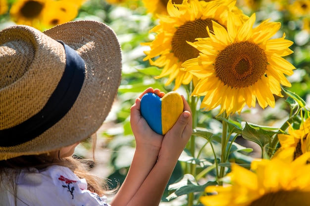 A child in a field of sunflowers in an embroidered shirt. ukraine independence day concept. selective focus. nature.