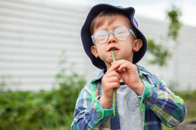 아이가 정원을 가꾸고 뒤뜰에 있는 채소밭에서 파를 먹는다