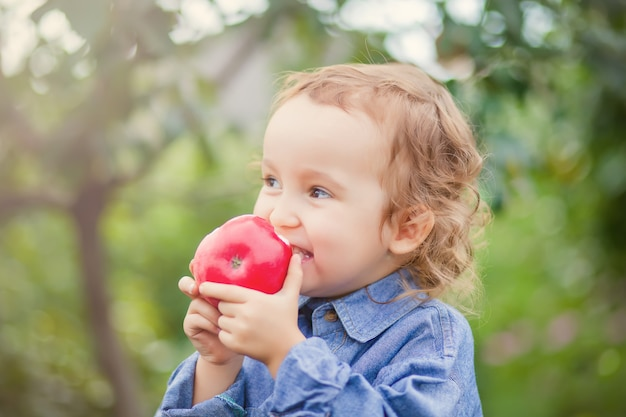 Child girl eating an apple in a garden in nature
