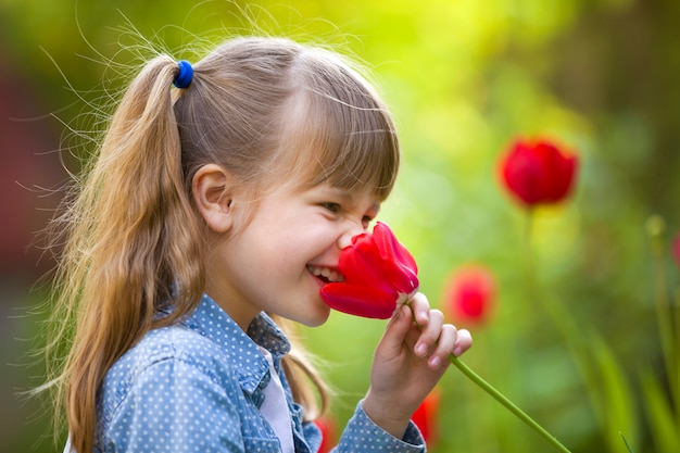 Child girl smelling bright red tulip flower