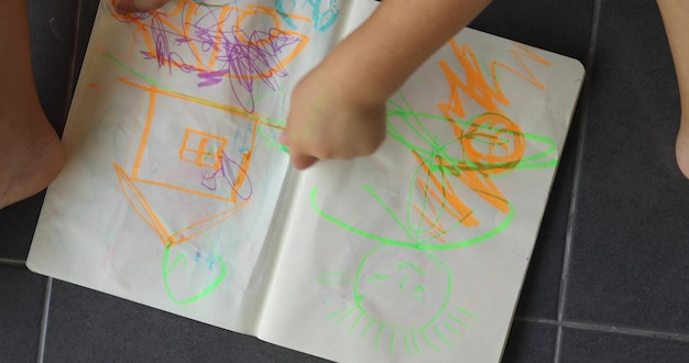 Child hands draws a colored markers on paper while lying on floor top view