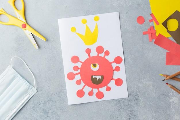 아이 손 코로나 바이러스 covid-19 카드 콜라주 만들기