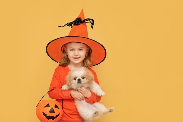 할로윈 격리된 노란색 스튜디오 배경을 위해 아이가 강아지 호박과 주황색 모자 의상을 들고 있습니다.
