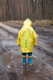 ゴム長靴の水たまりを歩く黄色いレインコートを着た子供、雨上がりの森の中を歩く、背面図