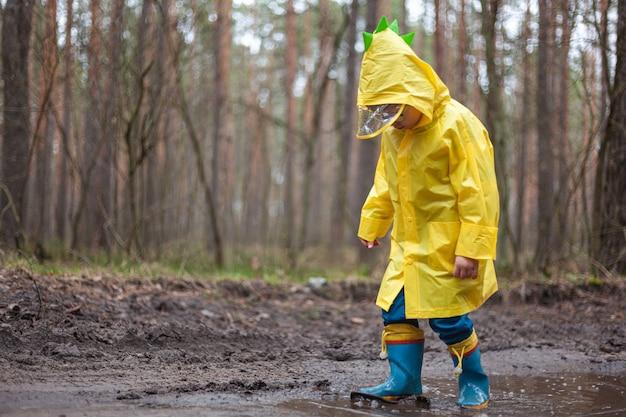 ゴム長靴の水たまりを歩く黄色いレインコートを着た子供、雨の後に森を歩く